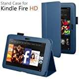 CaseGuru Amazon Kindle Fire HD 8.9 inch (2013) Leather Case Cover and Flip Stand Wallet Plus Capacitive Stylus Pen (Dark Blue)