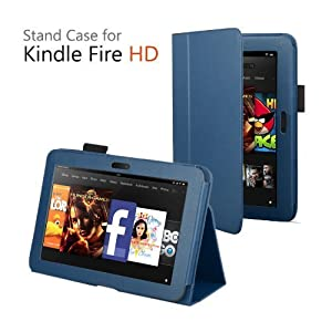 CaseGuru Leather Case Cover and Flip Stand Wallet with Capacitive Stylus Pen for Amazon Kindle Fire HD 2012 - Dark Blue