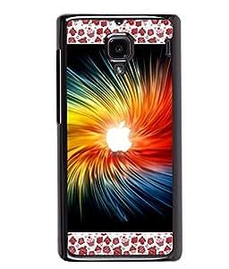 PRINTVISA White Apple Logo Premium Metallic Insert Back Case Cover for Xiaomi Redmi 1S - D5796