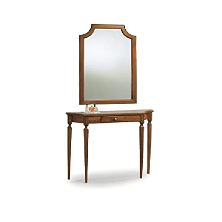 Framed mirror and console, Classic Style, in Solid Wood and MDF with Polished Walnut Finish