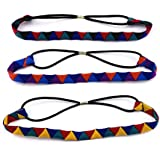 Yueton Pack Of 3 Colorful Triangle Pattern Elastic Headwear Hair Bands Headbands