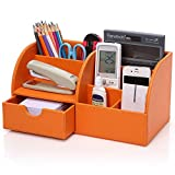 Young-lin® Multifunctional PU Leather Office Desk Organizer, Desktop Stationery Storage Box Collection, Business Card, Remote Control, Pen, Pencil, Mobile Phone, Holder Desk Supplies Organizer (Orange)