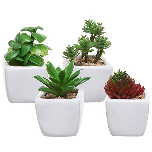 Set of 4 Small Modern Cube-Shaped White Ceramic Planter Pots with Artificial Succulent Plants - MyGift® (Succulent Plants In Pots compare prices)