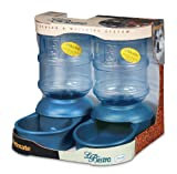 Petmate Le Bistro 5-Pound Feeding and 1-Gallon Watering System with Microban, Peacock Blue