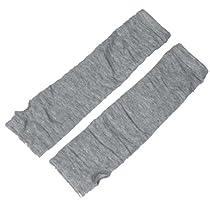 Allegra K Light Gray Stretchy Fingerless Thumbhole Arm Warmer Gloves for Women