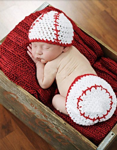 Crochet Baby Newborn Girl Boy Baseball Hat Diaper Cover Costume Photography Photo Props+Free Gift,Lace Doilies,Random Colors