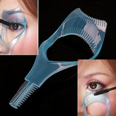 3 in 1 Mascara Applicator Guide Tool Eyelash Comb Makeup Plastic Curler Beauty