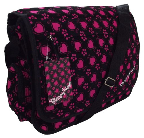 Fushia Pink Girls Courier or sling style messenger bag suede Hearts & Flowers pattern travel cabin or hand luggage A4 school folders