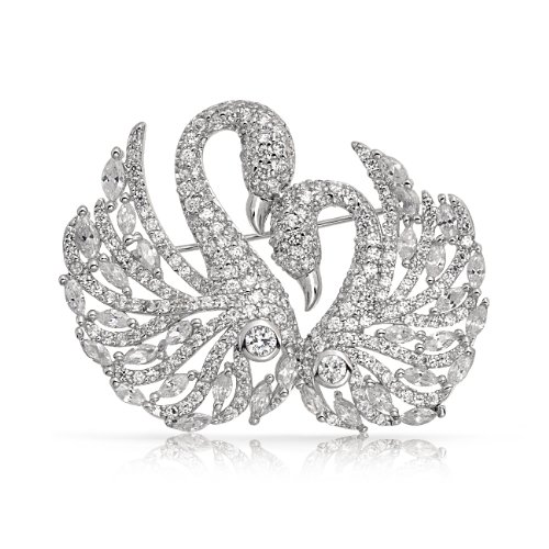 Bling Jewelry Pave CZ Two Loving Swan Pin Brooch