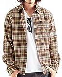 チェック柄ネルシャツ チェックシャツ 長袖 オンブレ メンズ カジュアル XLサイズ 9ベージュ