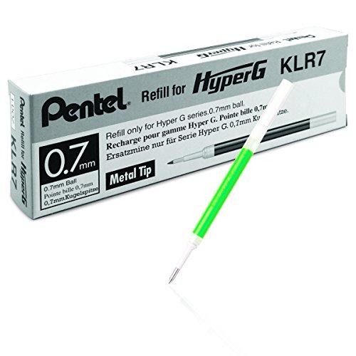 Pentel KLR7-D HyperG Lot de 12 cartouches d'encre rechargeables pour Pentel KL257 Vert 0,35mm