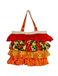 Frilly Designer Shopping Bag With 4 Tiered Frill, Cotton Canvas Printed Poplins, Zipper Closing, 2 Pockets - B0157ZSV44