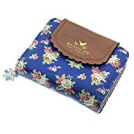 ETIAL Women's Vintage Floral Zip Mini Wallet Short Design Coin Purse