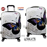 trolley Bagaglio a mano cabina per voli low cost in abs rigido 4 ruote + asta estensibile -loco by crazy shoes