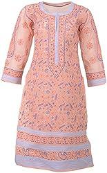 ALMAS Lucknow Chikan Women's Cotton Regular Fit Kurti (Peach and Purple)