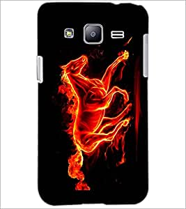 PrintDhaba Horse on Fire D-1189 Back Case Cover for SAMSUNG GALAXY J2 (Multi-Coloured)