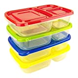 Green Direct 3 Compartment Lunchbox Containers (4 Pack) Portion Lunch Box Reusable Dishwasher Safe