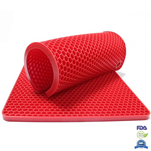 Fontaine 7-inch Heat-proof Double Layer Cooking Pot Holder Non-slip Silicone Table Trivets Square Red Set of 2