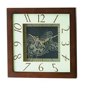 Premier Housewares Square Dark Wood Frame Wall Clock - 30cm