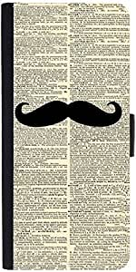 Snoogg Newspaper I Mustache You Graphic Snap On Hard Back Leather + Pc Flip C...