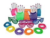 80s Rock Star or Pop Dress-Up Set for 12 - 12 Pairs Fingerless Fishnet Wrist Gloves, 12 Sunglasses, 144 Neon Gel Bracelets and 80s Trivia Questions