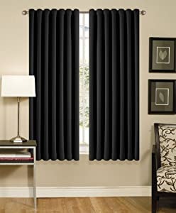 Solid Black Back Tap Thermal Insulated Blackout Window Curtain 108