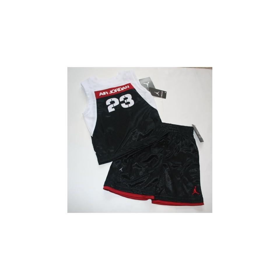 ffebc39bc31e Nike Air Jordan Jumpman23 Stencil Jersey Sleeveless Shirt Shorts Set Size  2T Black Red White
