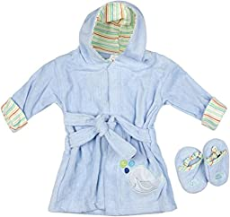Big Oshi Baby Bath Terry Robe With Slippers, Blue, 0-9 Months