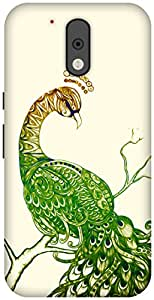 The Racoon Grip Peacock White hard plastic printed back case / cover for Motorola Moto G 4th Gen