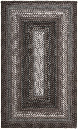 8' x 10' Ahimsa Spiraled Gray, Ink and Tan Reversible Braided Area Throw Rug
