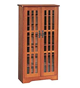 Small arts and crafts style glass front media for Arts and crafts storage cabinet