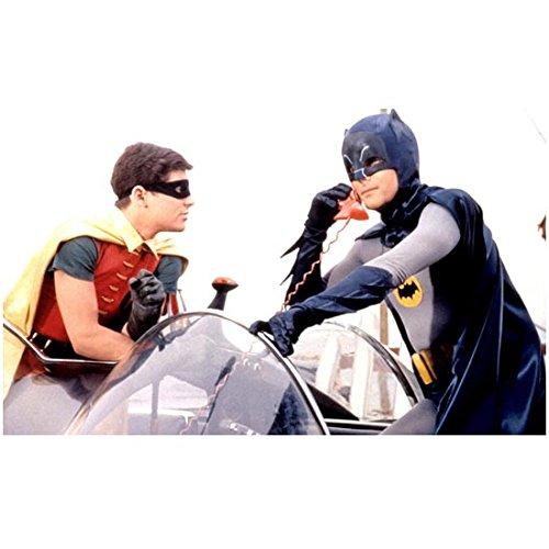 adam-west-8x10-photo-batman-tv-w-burt-ward-robin-talking-on-red-phone-outside-batmobile-kn