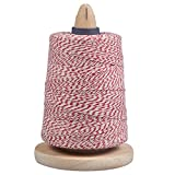 Bakers Twine & Holder For Easy Cutting & Storage - Red & White String