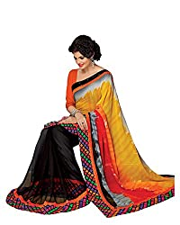 RUDDHI WOMEN'S DESIGNER BLACK & MULTI FASHION GEORGETTE SAREE