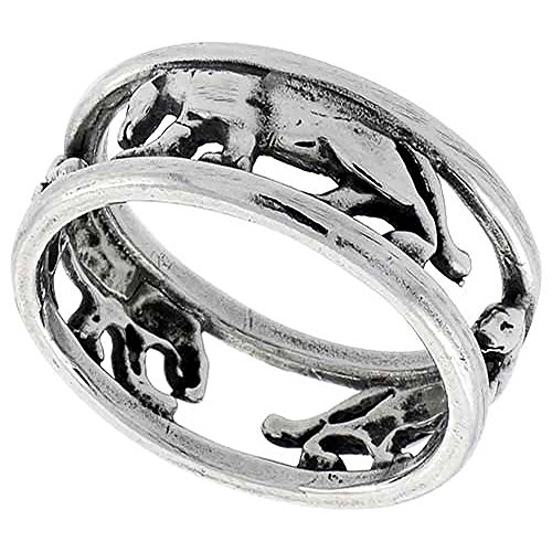 Sterling Silver Panther Ring Wedding Band Polished Finish 1/4 Inch Wide, Size 7