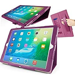 Orzly® Multifunctional Case for Apple iPad Pro (2015 Model) - Tablet Cover in PURPLE with Auto Sleep Sensors, Built in Stand, Hand Strap, & Stylus Pen