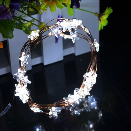 Inst Micro Led 30 Star Lights Battery Operated On 10Ft Long Copper Color String Wire (White)