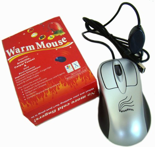 ValueRays® Warm Mouse, Heated Mouse, Warm Computer Mouse, Heated Computer Mouse, Ergonomic Warm Mouse, Optical Heated Mouse, USB Hand Warmer Mouse, Ergonomic Mouse, Assistive Technology, USB Optical Mouse, Computer Mouse, Infrared Heat