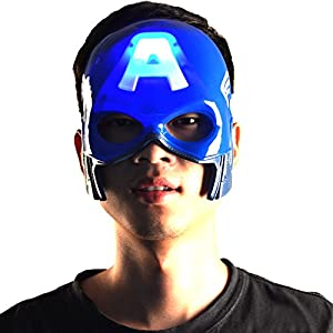 Glantop Super Hero Captain America Mask LED Light Gift for Halloween Costume Party Kids Adults