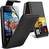 (Black) Samsung Galaxy S2 i9100 Custome Made Faux Leather Flip Case Cover Skin &Screen Protector Guard By *Aventus*