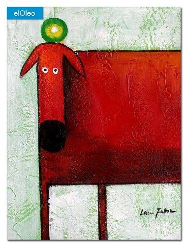 elOleo Pop Art – Der lustige rote Hund 40×30 Gemälde auf Leinwand handgemalt 83065A günstig kaufen