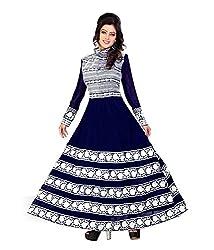 Priyanshu Creation Women's Georgette Navy Blue Dress Material