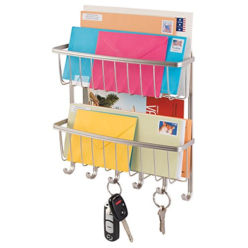 mDesign Mail, Letter Holder, Key Rack Organizer for Entryway, Kitchen - 2 Tier, Wall Mount, Satin (Bill Wall Organizer compare prices)