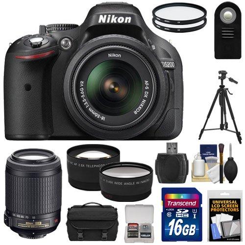 Nikon D5200 Digital Slr Camera & 18-55Mm G Vr Dx Af-S Zoom Lens (Black) With 55-200Mm Vr Lens + 16Gb Card + Case + Filters + Tele/Wide Lenses + Tripod + Remote + Accessory Kit