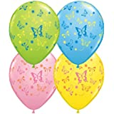 """Butterfly Print Assorted 11"""" Latex Balloons (5 pack)"""
