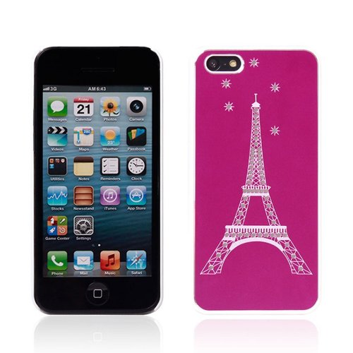 Meaci® Apple Iphone 5c Hard Case Hot Pink Glitter Bling Paillette Eiffel Tower Series Plasticℜ Aluminum Plate Protective Case with 1 Free Anti-dust Plug Stopper-random Color (Ix)