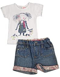 Mish - Baby Girls Short Sleeve Denim Short Set, White, Denim Blue 33544-24Months