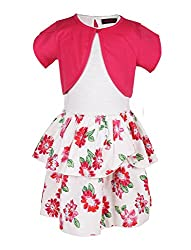 Chicabelle Girls' Dress With Shrug (CH-09A_Multi_12-14 Years)