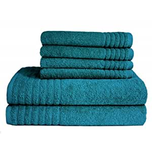 """Badetücher / Gästetücher - Handtuchset """"Gallant""""- petrol, Qualität 565 g/m², 2 Badetücher / Duschtücher 70 x 140 cm und 4 Gästetücher 30 x 50 cm, 100 % Baumwolle"""