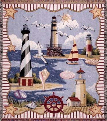 Simply Home Coastal Memories Tapestry Throw Blanket front-873278